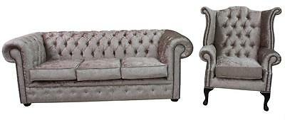 Chesterfield 3 Seater + Wing Shimmer Mink Velvet Sofa Settee Suite