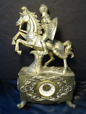 Vintage Style Reproduction German Knight On Horse Mantle Clock Ornament