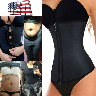 5271dc2a783 Corset Body Shaper Latex Rubber Waist Trainer Underbust Zipper Slimming  Cincher!