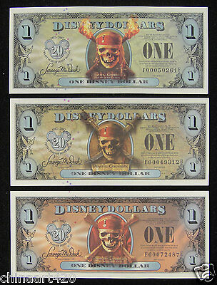 2007 $1 DISNEY DOLLAR Uncirculated, A Set of 3 Pieces