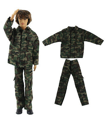 Military-style camouflage clothing/Outfit/Tops+Pants For Barbie's BF Ken B32U