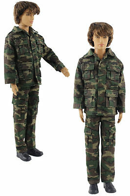 Military-style camouflage clothing/Outfit/Tops+Pants For 12 inch Ken Doll B33U