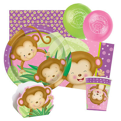GIRL MONKEY New Baby Shower Party Range - Tableware Balloons & Decorations