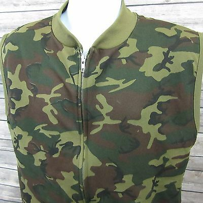 Vintage Duck Camo Polyester Full Zip Jacket Vest Mens 48 XLT Extra Large Tall