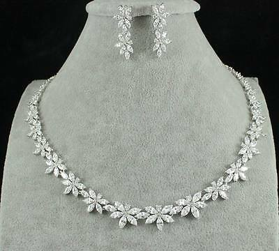 Floral Cz Cubic Zirconia Crystal Necklace Earrings Set Wedding Party Cz2208