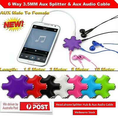 6 Way 3.5MM Aux Headphone Splitter Hub Converter & Aux Audio Male to Male Cable