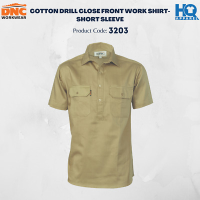 Cotton Drill Close Front Work Shirt - Short Sleeve Brand New Clothes 3203 Dnc