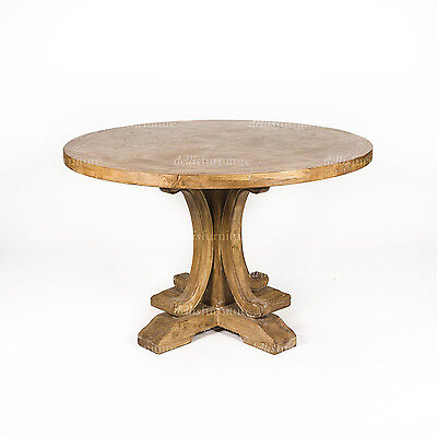 Ronde Parquetry Elm Timber French Provincial Pedestal Round Dining Table 120 cm