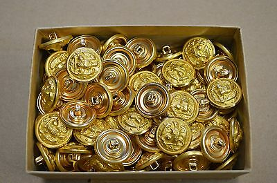 Lot of 144 US Navy Brass Eagle and Anchor Buttons, Waterbury Co. Sealed Box