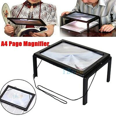 A4 Full Page Large Hands Free Magnifier Light LED Magnifying Glass Lens Reading