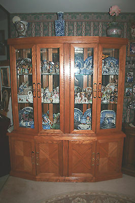 Large antique wooden china glass cabinet