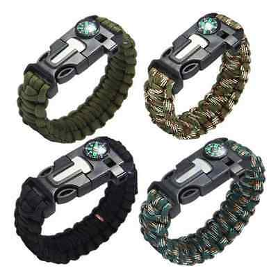 Army Camouflage Outdoor Survival Bracelet Paracord Whistle Fire Starter Gear US