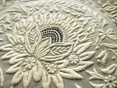 """SUPER FINE Antique French NORMANDY LACE TABLECLOTH 32"""" Round BEST EMBROIDERY"""