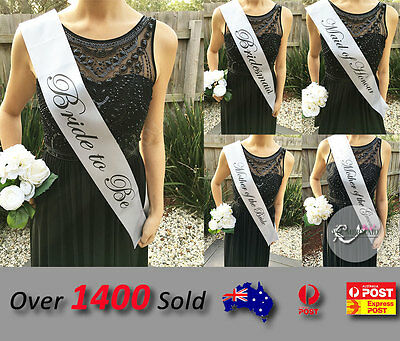 Silver Sashes Hens Night Party Engage Bride To Be Bridesmaid Maid of Honour