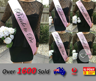 Pink Sashes Hens Night Party Engagement Bride To Be Bridesmaid Maid of Honour