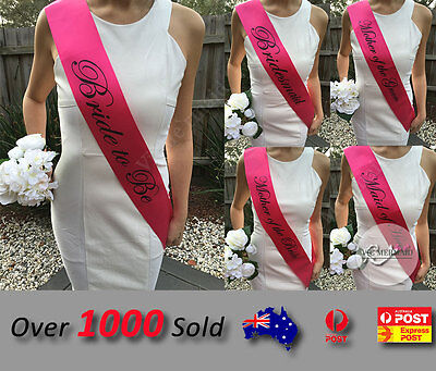 Hot Pink Sashes Hens Night Party Engage Bride To Be Bridesmaid Maid of Honour