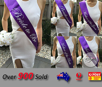 Purple Sashes Hens Night Party Engage Bride To Be Bridesmaid Maid of Honour