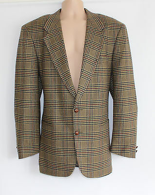"VTG Green Check 100% Wool Tweed LLOYD'S Country Club Men's Blazer Chest 46"" 48"""