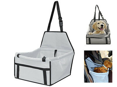 Grey Travel Booster Bag Pet Dog Puppy Pet Car Seat Carrier W/ Safety Belt Cover