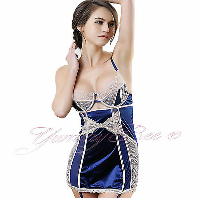 cfcf646bc Yummy Bee Sexy Chemise Suspenders Babydoll Lingerie Plus Size 8-26 Satin  Body UK