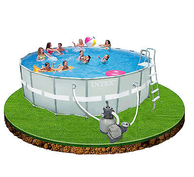 Intex 18ft x 52in Ultra Frame Swimming Pool + Filter Pump, cover, ladder etc