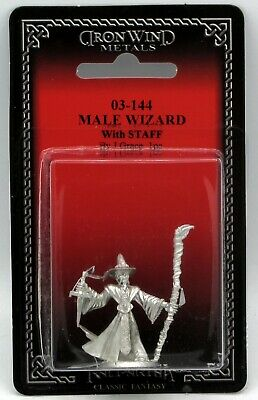 Ral Partha 03-144 Male Wizard with Staff (Player Character) Mage Adventurer NIB