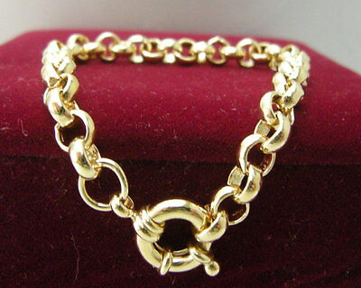 14ct 14K Yellow gold belcher bolt ring chain solid womens mens bracelet 18cm