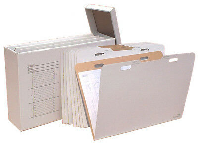 Advanced Organizing Systems Vertical Flat File System Filing Box Set of 8