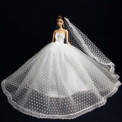 White Fashion Royalty Princess Dress/Clothes/Gown+Veil For Barbie Doll S179U1