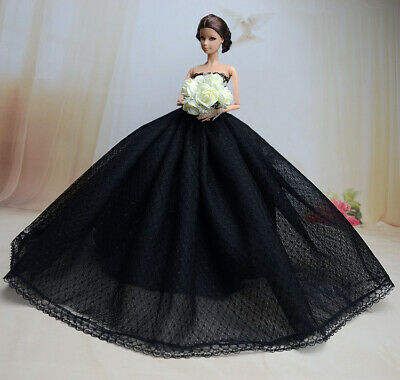 Black Fashion Royalty Princess Dress/Clothes/Gown+Veil For Barbie Doll S181U1