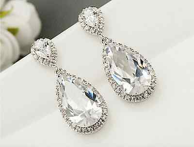 Luxury Bridal Earrings Pear Teardrop Cubic Zirconia dangle Cluster drop Wedding