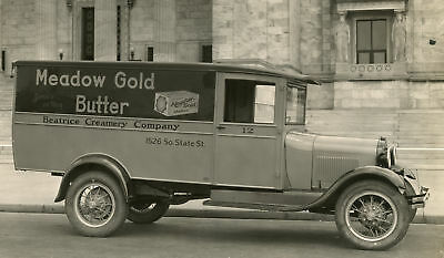 Antique State St Chicago Butter Truck Ford Aa 1928/1929 Rare Architecture Photo