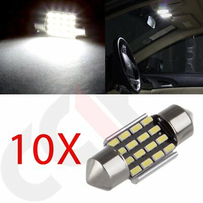 10x LED 16SMD Error Free Interior Light Bulbs Canbus Festoon Dome Map Lamp 31mm