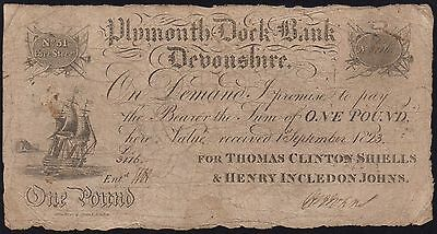 1823 PLYMOUTH DOCK BANK £1 BANKNOTE - DEVONSHIRE * 3116 * V-VG * Outing 683c *