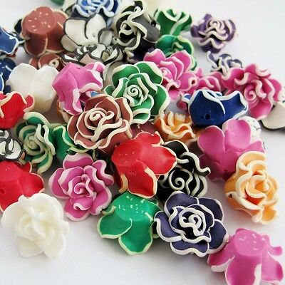 10Pcs Polymer Clay Multi-Color Rose Beads Finding--20mm*9mm