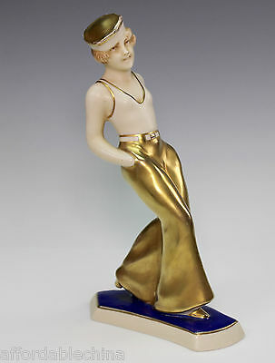 Rare Art Deco Royal Dux Sailor Girl Gold Porcelain Figurine 3354