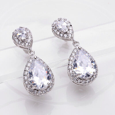 Luxury Bridal CZ Pear Teardrop Cubic Zirconia Zircon earring dangle Cluster drop