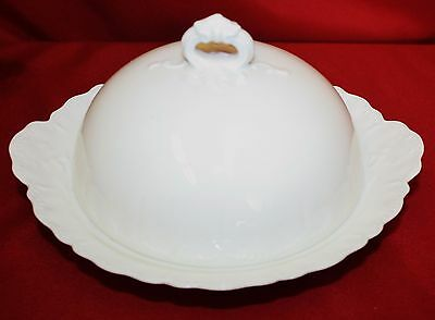 HAVILAND china Limoges RANSON WHITE pattern Round 3-piece Butter Dish & Dome Lid