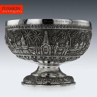ANTIQUE 20thC INDIAN SOLID SILVER PRESENTED REPOUSSE' BOWL, CALCUTTA c.1910