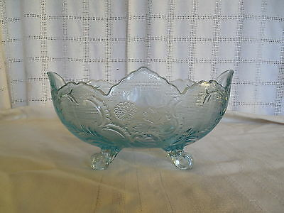 Jeanette glass carnival glass footed fruit bowl Lombardi light blue rare color