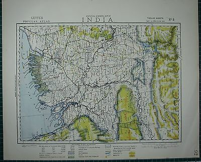 1883 Letts Map ~ India Calcutta Bengal Burdwan Bhota Lower Assam
