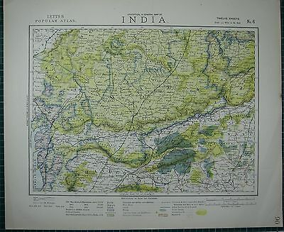 1883 Letts Map ~ India Central Khandeish Berar Goondwana Bhopal Malwa