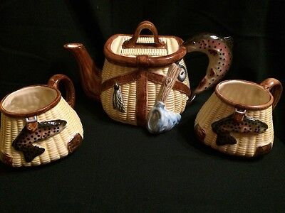 Trout Whimsy Teapot and Mugs by R. U Finney Big Sky Carvers Fishing Creel Basket