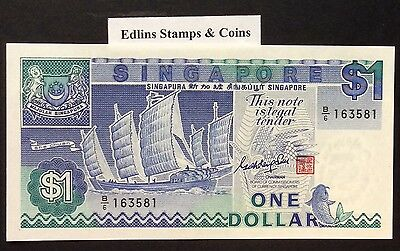 1987 $1 Singapore Banknote - Uncirculated - Pick 18A - B/6 163581