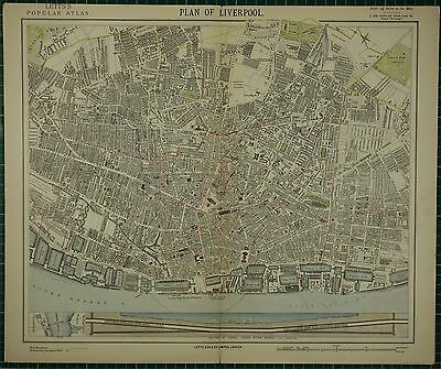 1883 Letts Map ~ Liverpool Plan Mersey River Tunnel Section Docks Hospital