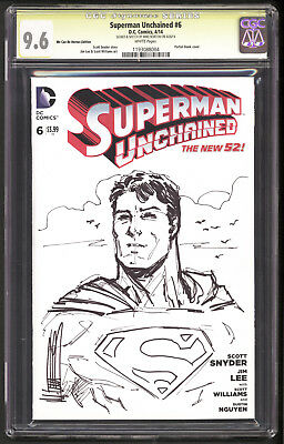 Superman Unchained #6 Blank CGC 9.6 SS Signed and sketch by Mike Norton NM+