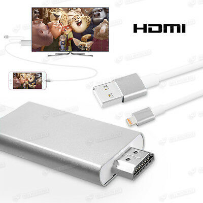 Lightning Hdmi HDTV Digital AV Adapter Kabel 2m f. iPhone 6s 6Plus 6 5 Se Silber