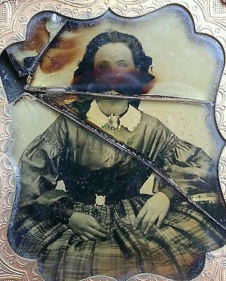 Antique American Beauty Artistic Shattered Dreams Wolfman Ambrotype Photo