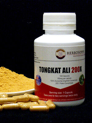 Tongkat Ali Extract 200:1~100% Pure~100 Caps.~Long Jack~Fast, Free Postage