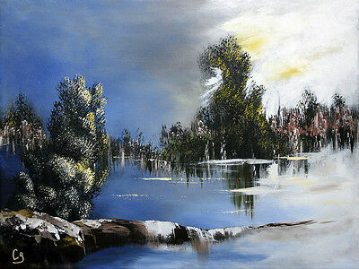 LANDSCAPE W TREES /& LAKE WATERCOLOR PAINTING JAMES BULWER ART REAL CANVAS PRINT